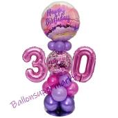 LED Ballondeko zum 30. Geburtstag in Pink und Lila