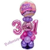 LED Ballondeko zum 31. Geburtstag in Pink und Lila
