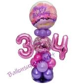 LED Ballondeko zum 34. Geburtstag in Pink und Lila