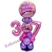 LED Ballondeko zum 37. Geburtstag in Pink und Lila