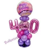 LED Ballondeko zum 40. Geburtstag in Pink und Lila