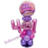 LED Ballondeko zum 41. Geburtstag in Pink und Lila