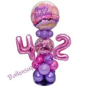 LED Ballondeko zum 42. Geburtstag in Pink und Lila
