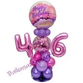LED Ballondeko zum 46. Geburtstag in Pink und Lila