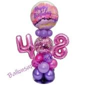 LED Ballondeko zum 48. Geburtstag in Pink und Lila