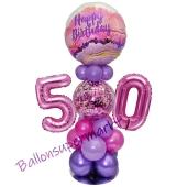 LED Ballondeko zum 50. Geburtstag in Pink und Lila