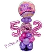 LED Ballondeko zum 52. Geburtstag in Pink und Lila