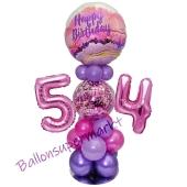 LED Ballondeko zum 54. Geburtstag in Pink und Lila