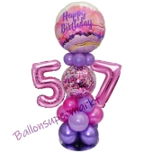 LED Ballondeko zum 57. Geburtstag in Pink und Lila