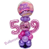 LED Ballondeko zum 59. Geburtstag in Pink und Lila