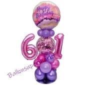 LED Ballondeko zum 61. Geburtstag in Pink und Lila