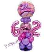 LED Ballondeko zum 62. Geburtstag in Pink und Lila