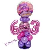 LED Ballondeko zum 63. Geburtstag in Pink und Lila