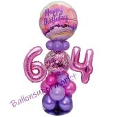 LED Ballondeko zum 64. Geburtstag in Pink und Lila
