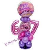 LED Ballondeko zum 67. Geburtstag in Pink und Lila