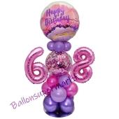 LED Ballondeko zum 68. Geburtstag in Pink und Lila