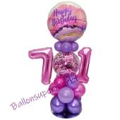 LED Ballondeko zum 71. Geburtstag in Pink und Lila