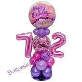 LED Ballondeko zum 72. Geburtstag in Pink und Lila