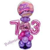 LED Ballondeko zum 73. Geburtstag in Pink und Lila