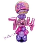 LED Ballondeko zum 74. Geburtstag in Pink und Lila