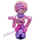 LED Ballondeko zum 77. Geburtstag in Pink und Lila