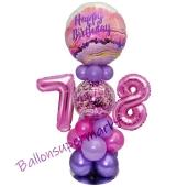 LED Ballondeko zum 78. Geburtstag in Pink und Lila