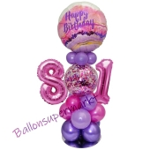 LED Ballondeko zum 81. Geburtstag in Pink und Lila