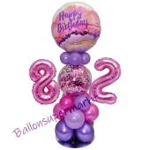 LED Ballondeko zum 82. Geburtstag in Pink und Lila