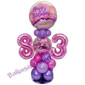 LED Ballondeko zum 83. Geburtstag in Pink und Lila