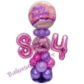 LED Ballondeko zum 84. Geburtstag in Pink und Lila