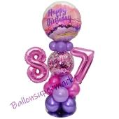 LED Ballondeko zum 87. Geburtstag in Pink und Lila