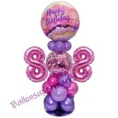 LED Ballondeko zum 88. Geburtstag in Pink und Lila