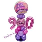 LED Ballondeko zum 90. Geburtstag in Pink und Lila