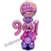 LED Ballondeko zum 91. Geburtstag in Pink und Lila