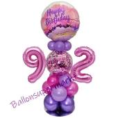 LED Ballondeko zum 92. Geburtstag in Pink und Lila