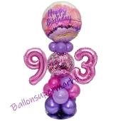 LED Ballondeko zum 93. Geburtstag in Pink und Lila