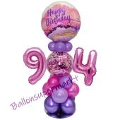 LED Ballondeko zum 94. Geburtstag in Pink und Lila