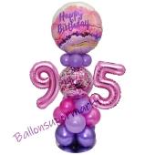 LED Ballondeko zum 95. Geburtstag in Pink und Lila