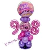 LED Ballondeko zum 98. Geburtstag in Pink und Lila