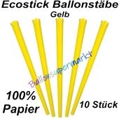 Ecostick Ballonstäbe aus 100 % Papier, gelb, 10 Stück