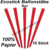 Ecostick Ballonstäbe aus 100 % Papier, rot, 10 Stück
