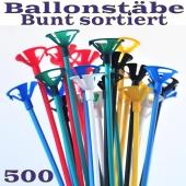 Ballonstäbe bunt sortiert, 500 Stück, Halter für Luftballons 2-teilig