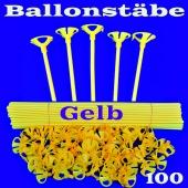 Ballonstäbe Gelb, 100 Stück, Halter für Luftballons 2-teilig