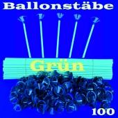 Ballonstäbe Grün, 100 Stück, Halter für Luftballons 2-teilig