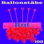 Ballonstäbe Rot, 100 Stück, Halter für Luftballons 2-teilig