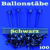 Ballonstäbe Schwarz, 100 Stück, Halter für Luftballons 2-teilig