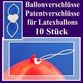 Ballonverschlüsse, Patentverschlüsse für Luftballons aus Latex, 10 Stück