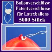 Ballonverschlüsse, Patentverschlüsse für Luftballons aus Latex, 5000 Stück
