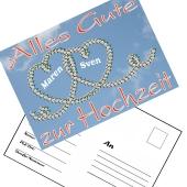 Ballonweitflugkarten Alles Gute zur Hochzeit, personalisiert mit Namen und Anschrift