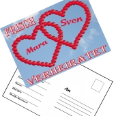 Ballonweitflugkarten Frisch verheiratet, personalisiert mit Namen und Anschrift